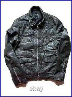 All Saints HABANERO Leather jacket Size Large Black Mint Condition
