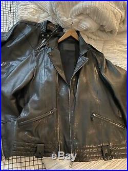 All Saints Men's Black Griffin Leather Biker Moto Jacket Sz L MINT