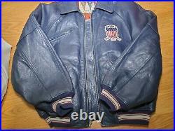 MINT Blue All American USA 1975 Avirex leather jacket NAS Method Man Belly SZ M