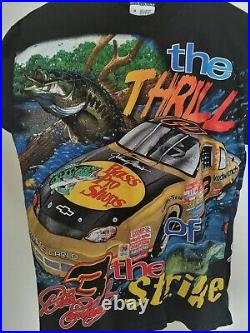 MINT! VTG 90s NASCAR Dale Earnhardt Bass Pro Shops All Over Print T Shirt MEDIUM