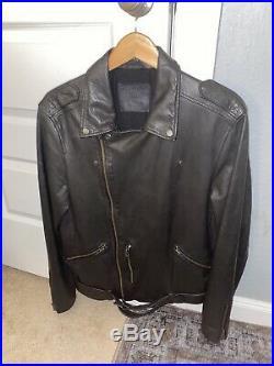Men's All Saints Kahawa Biker Leather Jacket Size Large. MINT CONDITION