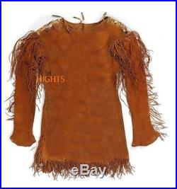 Mens Leather indian buckskin coat Mountain Man Jacket War Shirt Size all sizes