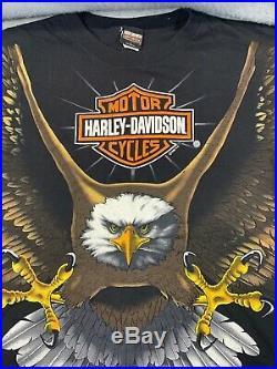 Mint! Vintage 1996 Harley Davidson Eagle All Over Print Shirt Made LARGE Mens