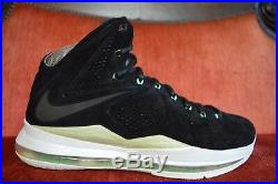 NDS Nike LeBron 10 X EXT QS Mint Black Suede 11.5 607078-001 MVP bhm all star