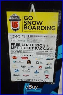 New Burton Progression Snowboard Size 151 CM With Burton Medium/large Binding