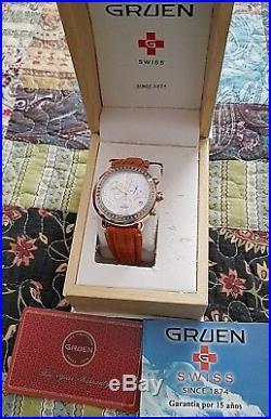 New Gruen 26-05 ALL Swiss Chronograph/57 REAL Diamond Watch/Rose Gold Tone/MINT$