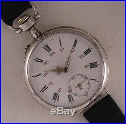 UNIQUE SILVER CASE All Original MEDAILLE D'OR PARIS 1900 French Wrist Watch MINT