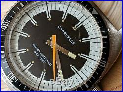 Vintage 1974 Caravelle 666 Feet Diver withMint Dial, Patina, All SS Case, Runs Strong