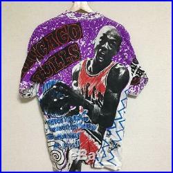 Vintage 90's Michael Jordan Tee T Shirt All Over Print Magic Johnson's Rare Mint