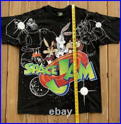 Vintage 90s All Over Print Space Jam Shirt 1996 Original Rare Size L MINT