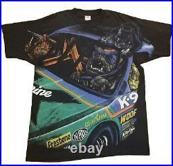 Vintage 90s FOTL Tag Dog Racing Nascar All Over Print TShirt Size XL RARE MINT