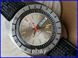 Vintage Elgin Day-Date Diver withWarm Patina, Mint Bezel, All SS Case, Tropic Band