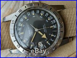Vintage Glycine Airman Pilot withMint Dial, Patina, Divers All SS Case, Runs Strong