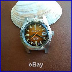 Vintage Mathey-Tissot Mergulhador UHF Diver withMint Orange Rust Dial, All SS Case