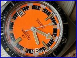 Vintage Silvana Diver withMint Orange Dial, Patina, All SS Case, ETA 2472, Runs Strong