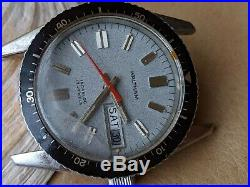 Vintage Waltham Day-Date Diver withMint Gray Dial, Patina, All SS Case, Runs Strong