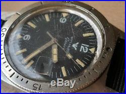 Vintage Wittnauer Geneve 4000 Diver Watch withMint Dial, Orange Patina, All SS Case