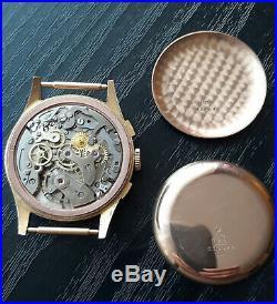 Vintage18K Gold Chronograph 37mm 20mm Swiss MINT near NOS All Original